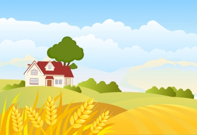 country landscape vector illustration with cartoon style