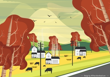 countryside field scene painting colorful classic decor