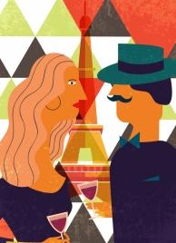 couple date drawing geometric decor multicolored retro