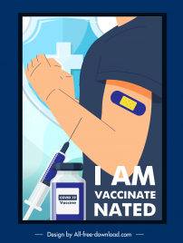 covid19 vaccination poster injected person injection needle sketch
