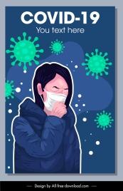 covid 19 banner flu illness woman virus sketch