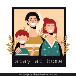 covid 19 banner happy family sketch cartoon characters