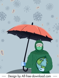 covid 19 banner rainy viruses protected earth sketch