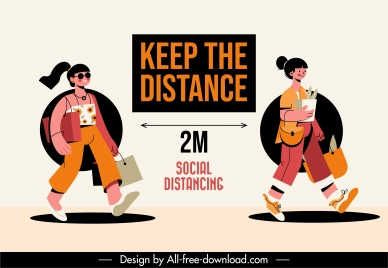 covid 19 poster distance instruction sketch cartoon design