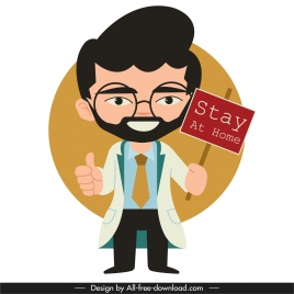 covid 19 poster doctor icon cartoon character sketch