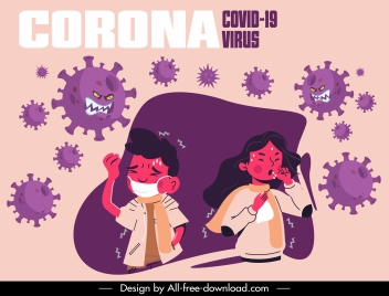 covid 19 poster sick people stylized viruses sketch
