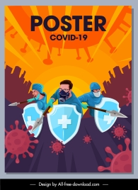 covid epidemic poster fighting doctors virus icons sketch