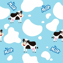 cow milk background cute icons colored repeating design