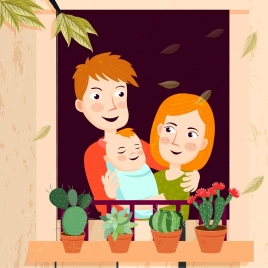 cozy family drawing human icons colored cartoon design