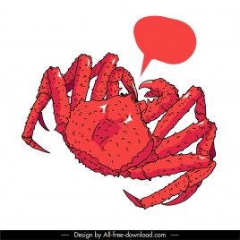 crab icon red classical handdrawn sketch
