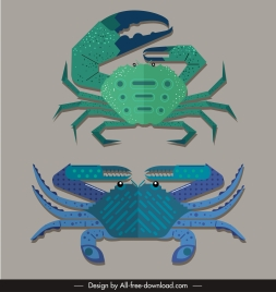 crab species icons colored flat sketch