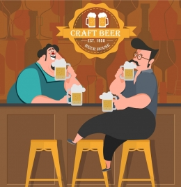 craft beer advertising bar guests icons colored cartoon