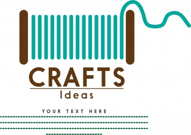 crafts banner design colored stitch reel design