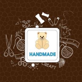 crafts concept design silhouette needlework icons decoration