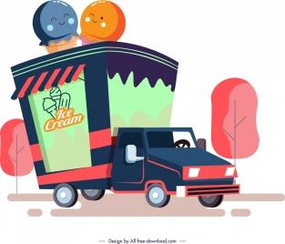 cream advertising background truck icon multicolored sketch