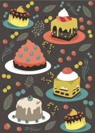 cream cakes background multicolored classical decor