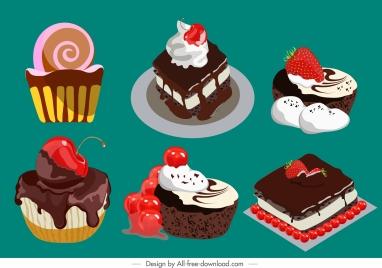 cream cakes icons colorful fruity chocolate decor