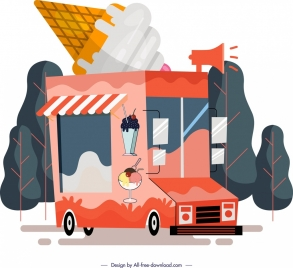 cream store background van icon colored design