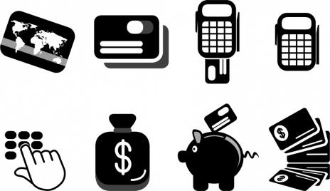 credit card design elements black white symbols sketch