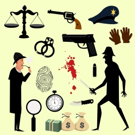 criminal investigation design elements colored objects icons