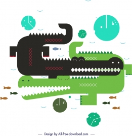 crocodile animals painting colored flat geometric design