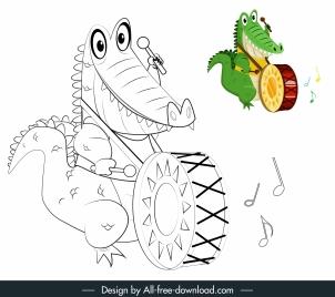crocodile icon playing drum sketch handdrawn cartoon