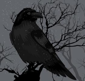 crow painting dark black design