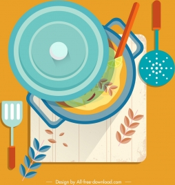 cuisine painting kitchenware icons colorful flat design