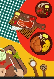 culinary background food preparation sketch colorful flat sketch
