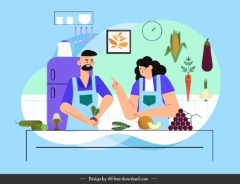 culinary background kitchen cooks ingredients sketch