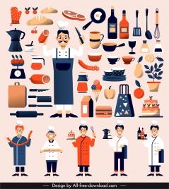 culinary design elements cooks utensils ingredients sketch