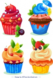 cupcake icons templates colorful fruits chocolate decor