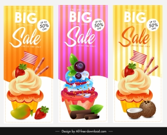cupcake sales banners colorful modern design