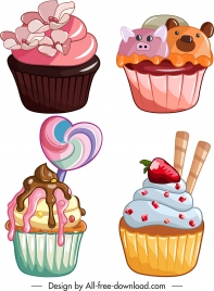 cupcakes icons creamy fruits decor colorful classic