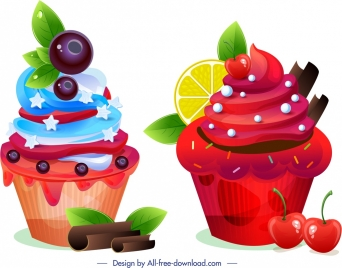cupcakes icons modern colorful design fruity decor