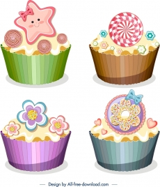 cupcakes icons templates shiny colorful modern decor
