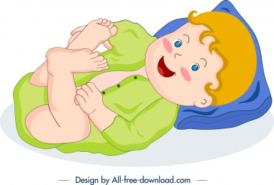 cute baby icon colored cartoon character