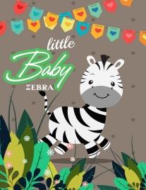 cute baby zebra drawing colored cartoon design
