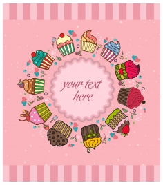 cute background design with cupcakes illustration