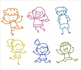 cute children icons outline various colorful cartoon style