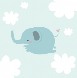 cute elephant drawing blue fat sketch