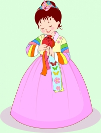 cute girl drawing asian traditional costume