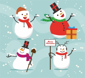 cute snowmen collection in various gestures style