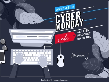 cyber monday poster dark grey decor ecommerce sketch