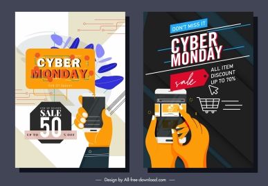 cyber monday posters digital trading technology sketch