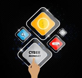 cyber monday sale background shiny transparent polygon icons