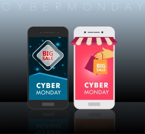 cyber monday sales banner smart phone icons ornament