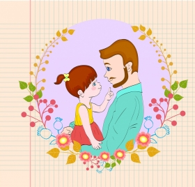 daddy day banner handdrawn icons paper flowers background