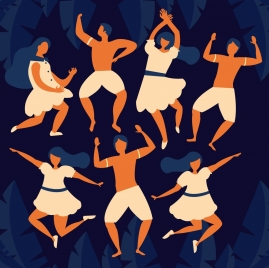 dance background joyful people icon cartoon sketch
