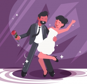dancing background happy couple icon cartoon design